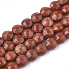 Facet Rode Jasper natuursteen rond plat ca. 6mm