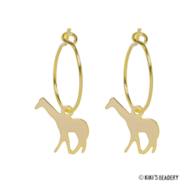 Giraffe oorringen goldplated