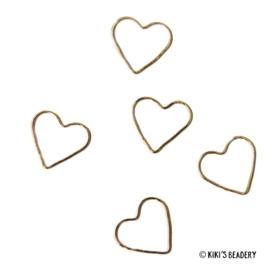5 harten ringen 12x13,5mm tussenstuk goud