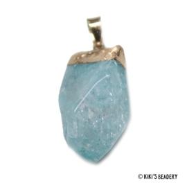 Crackle natuursteen hanger ca. 40~60 lichtblauw