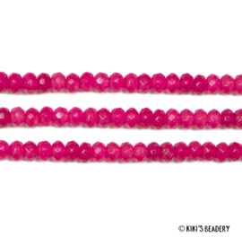 10 gemstones roze/fuchsia 4x3mm kralen