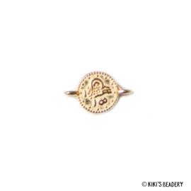 DQ gouden munt tussenstuk ca. 12x7mm