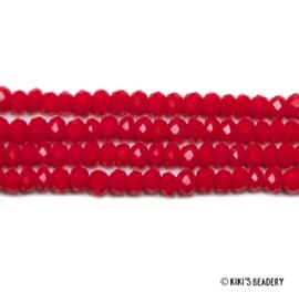 50 stuks Facet Glaskralen 3x2mm rood