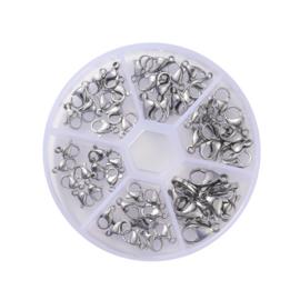 Stainless Steel 60x zilveren karabijn slotjes in handige box