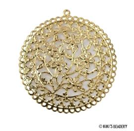Gouden filigraan bloemetjes hanger  60x56mm
