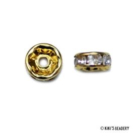 10 stuks 8x3,5mm Rondelle met steentjes goud kralen