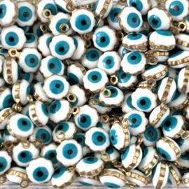 Evil eye wit bloemetjes bedels 5 stuks