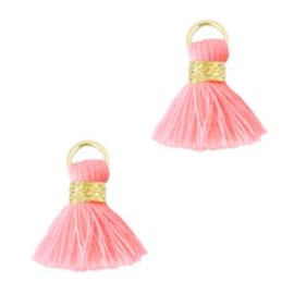 Mini kwastje fluor roze/goud 1.5cm