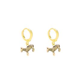Zebra oorbellen goud