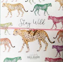 Stay Wild - Cheetah bandje met  wenskaartje