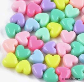 Hartjeskralen kleurenmix pastel 10mm