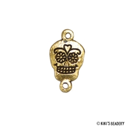 Mexicaanse skull tussenzetsel 20x11mm goud