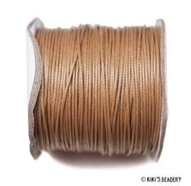1 meter Waxkoord (glad) bruin 1mm