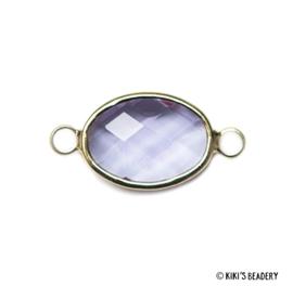 Ovalen crystal glas tussenstuk 10x21mm violet