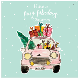 Have a fairy fabulous Christmas  - Pink Car - ansichtkaart