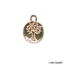 Gouden munt met boomafdruk bedel 15x12mm