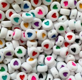 Hartjes letterkralen kleurenmix 20 gram