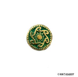 Groene knoop kraal met print 5 stuks