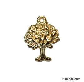 5 stuks gouden boompjes bedels 22x17mm