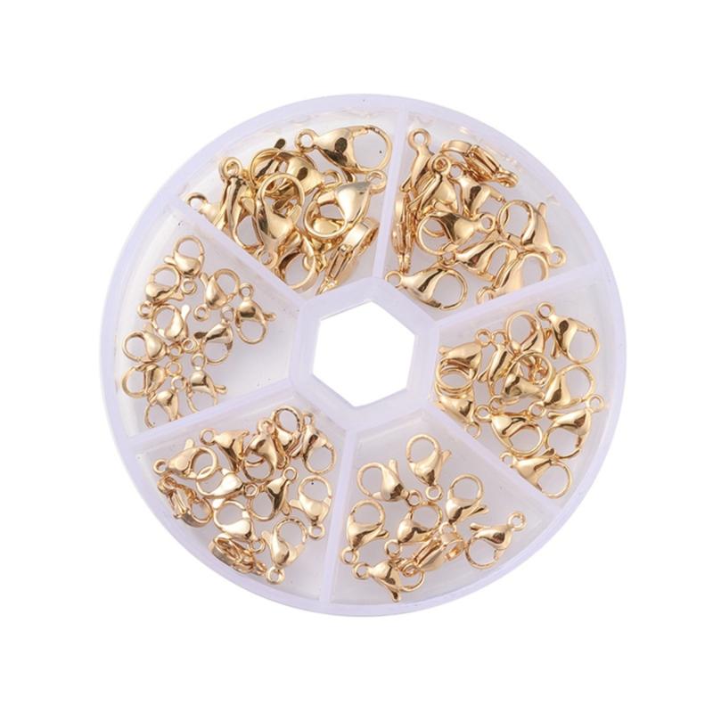 Stainless Steel 60x gouden karabijn slotjes in handige box