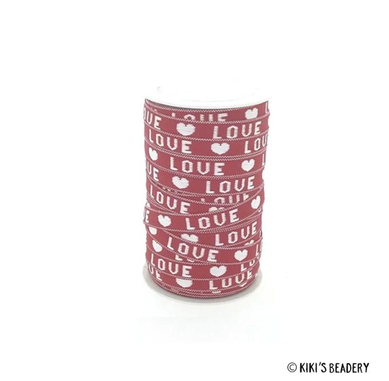 Katoenen lint 10mm Love rood wit