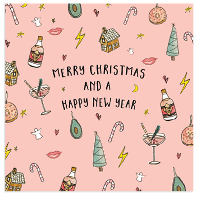 Merry Christmas and a Happy New Year - Pink Gin ansichtkaart