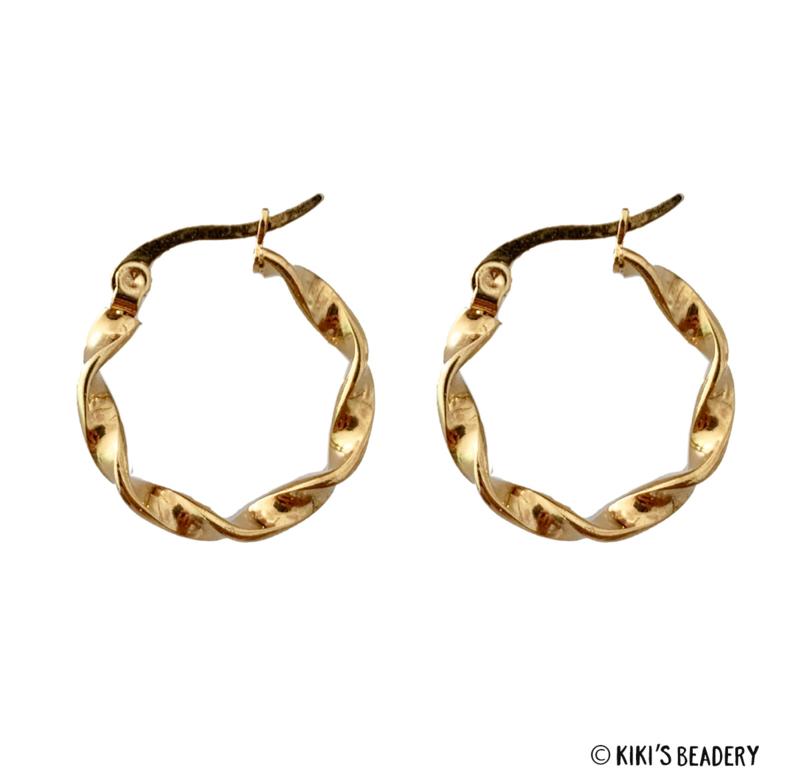 Stainless Steel Gouden kronkel hoops oorringen