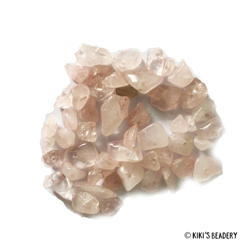 Roze Quartz halfedelsteen chips kralen 10 gram (ca. 40-50 stuks)