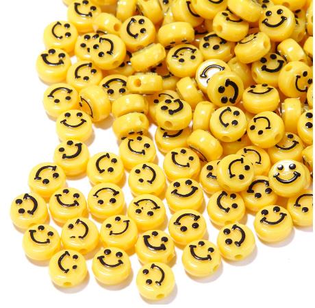 Smiley acryl kralen geel 10mm