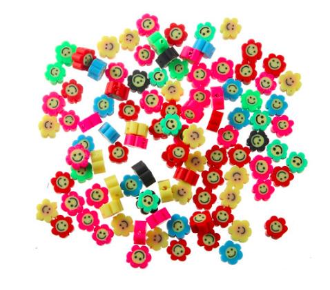 Gemixte smiley bloem polymeer kralen 10 stuks