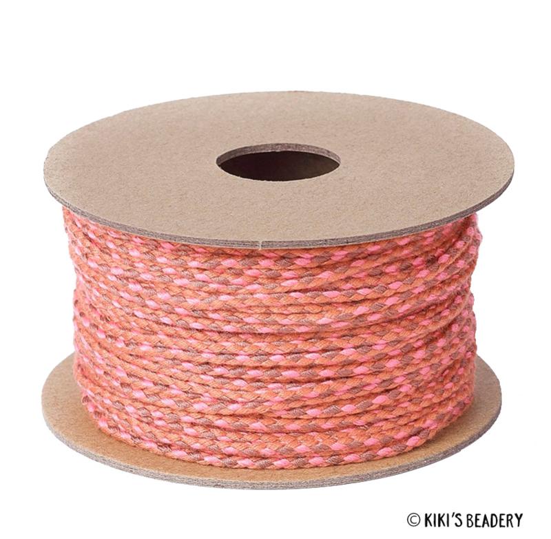 Surfkoord/geweven koord terracotta roze 2mm