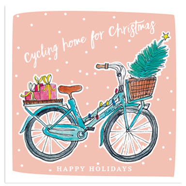 Cycling home for Christmas, Happy Holidays  -  ansichtkaart