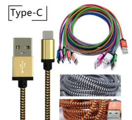 USB C kabel 1mtr Groen/Zwart