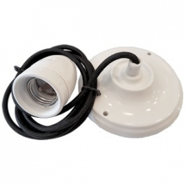 Snoerpendel porselein E27 1,5 meter kabel zwart