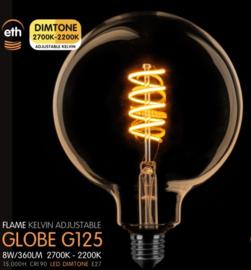 Led Spiraal Globe 125mm Goud 8w Dimtone