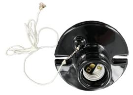 Fitting plafond E27 porselein met trekschakelaar zwart