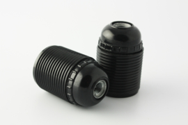 Fitting E27 voldraad kunststof zwart