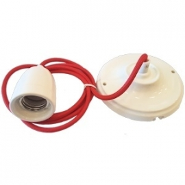 Snoerpendel porselein E27 1,5 meter kabel rood
