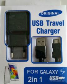 Lader met USB Micro kabel Zwart