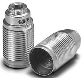 Fitting E14 voldraad metaal zilver