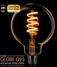 Led Spiraal Globe 95mm Goud 8w Dimtone