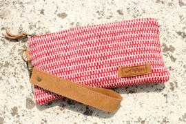 Portemonnee - Rood Wit Zip-Patroon