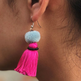 Earrings Pompon 1 Layer - Fuchsia/ Lichtblauw/ Zwart
