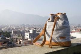 Muzza bag - Grijsblauw fijn patroon