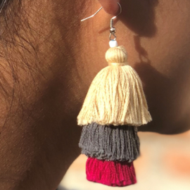 Earrings Tassel 3 Layers - Naturel/ Grijs/ Fuchsia