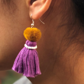 Earrings Pompon 1 Layer - Paars/ Bruin