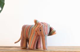 Fair Trade handgeweven knuffel Olifant - Roze Mix