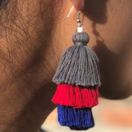 Earrings Tassel 3 Layers - Grijs/ Fuchsia/ Blauw