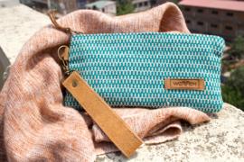 Portemonnee - Groen Wit Zip-Patroon