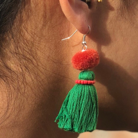 Earrings Pompon 1 Layer - Donkergroen/ Roze-Rood